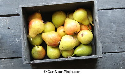 Fall pears on wood Thanksgiving dinner - Healthy Organic...