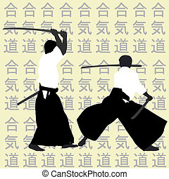 aikido, hommes, silhouettes