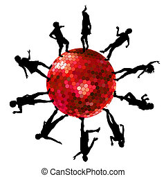 Silhouettes of people dancing on a disco ball