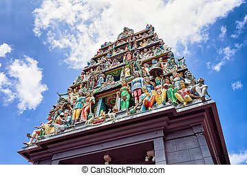 Fragment of decoration in Sri Mariamman Temple in Singapore....
