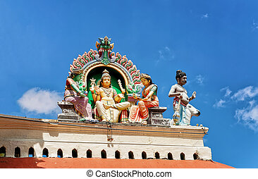 Fragment of decoration of Sri Mariamman Temple in Singapore....