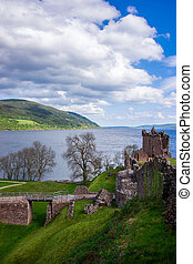 Grand Tower of the Urquhart Castle at Loch Ness Scotland -...