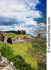 Remainings of the Urquhart Castle at Loch Ness in Scotland