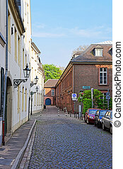 Street in the Old city center in Dusseldorf in Germany -...