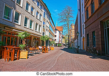 Street in the Old town center in Hanover in Germany....