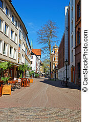Street in the Old City center in Hanover in Germany Hannover...