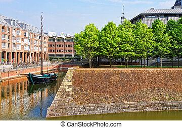 Boat in harbor of Dusseldorf in Germany - Boat in harbor in...