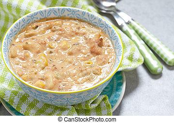 Salmon chowder soup