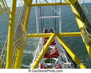 The deck lay barge. - Deck pipe-laying vessel. pipes, valves...