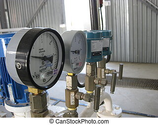 Manometer - Oil refinery. Equipment for primary oil...