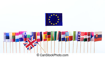 flags of the european union members, big banner of eu, with...