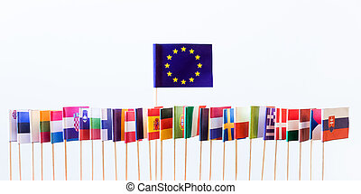 flags of the european union members, big banner of eu,...
