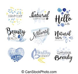Natural Beauty Cosmetics Promo Signs Colorful Set Of...