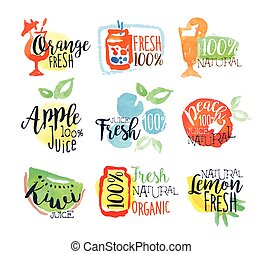 Fresh Fruit Juice Promo Signs Colorful Set Of Watercolor...
