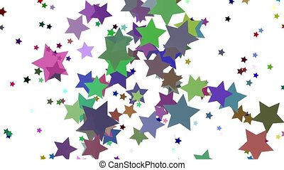 Rotating stars of different colors on white
