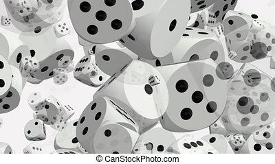 Rotating dices on white