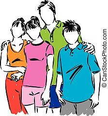 HAPPY FAMILY TOGETHER ILLUSTRATION