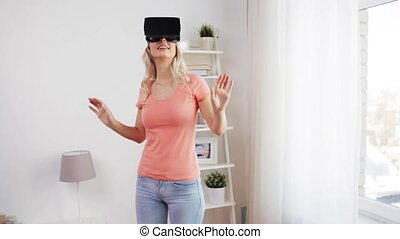 woman in virtual reality headset or 3d glasses - technology,...