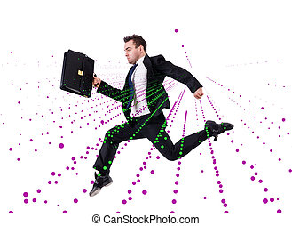 Jumping businessman in abstract concept on white
