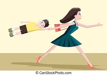 mother hurrying with the child - funny colorful cartoon...