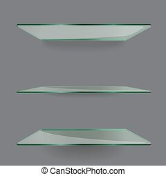 Realistic transparent glass shelves on light grey...