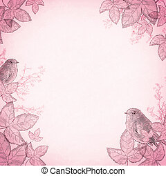 Birds in foliage, pink