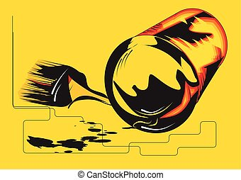 paint can abstract illustration on yellow background