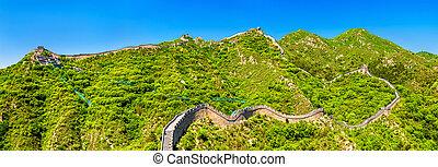Panorama of the Great Wall at Badaling - China - Panorama of...