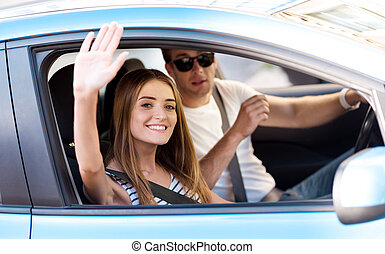 Man and woman going on car - See you Beautiful woman making...