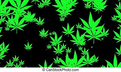 Flying cannabis leafs on black