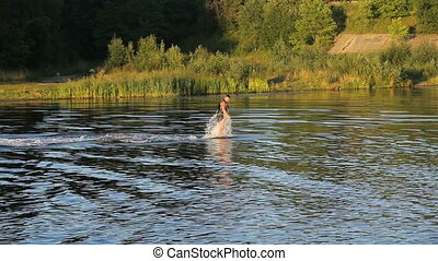 Fly board rider. - Man on the flying board on the river,...