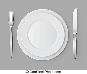 White Empty Flat Round Plates Fork and Knife Table Setting -...
