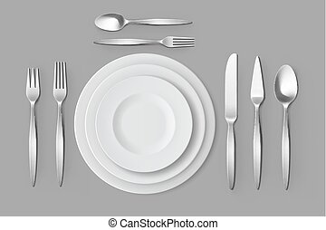 Cutlery Silver Forks Spoons and Knifes with Plates Table...