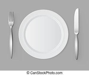 White Empty Flat Round Plate with Fork Knife Table Setting -...