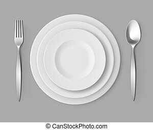 White Empty Round Plates with Fork and Spoon Table Setting -...