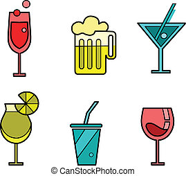 Set of six drink icon variations