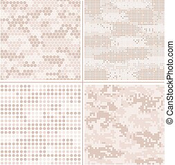 Seamless vector digital Pixel Camouflage collection - Urban,...