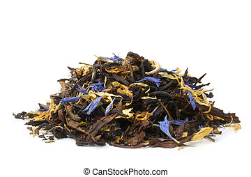 Fireweed tea on white background
