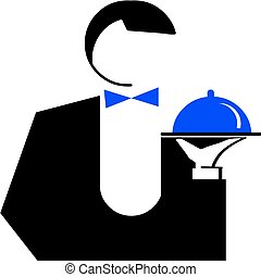 Man Waiter with a dish vector illustration - Man Waiter with...