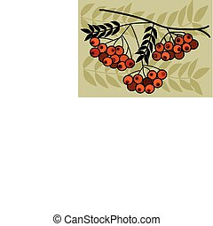 tree branch with red fruits on  green background, vector illustration