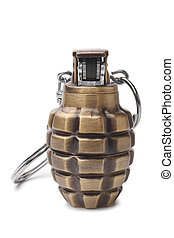 Lighter in the form of a hand grenade on white background