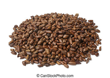 Cassia tora beans on white background