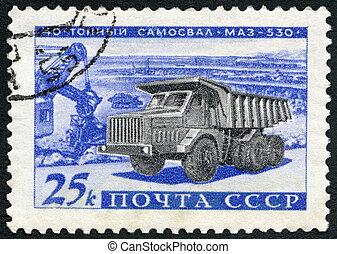 USSR - 1960: shows MAL-530 40-ton truck, Development of...