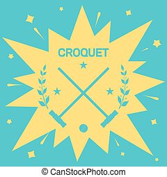 Croquet. Vintage background with clubs and ball for Croquet....