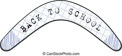 Children's drawing Australian boomerang Abstract image with the text. Back to school.