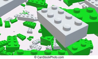 Flying white and green toy bricks on white