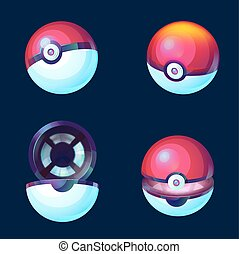 Game balls set to play in the team. Pokeball icon. Vector...