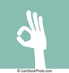 Finger sign OK, vector hand gesture in flat style