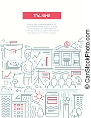 Business Training - line design brochure poster template A4...