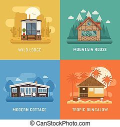 Lodge, Chalet, Cottage and Bungalow House Set - Different...